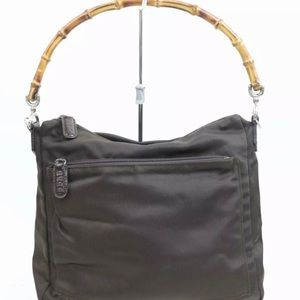 Gucci nylon handbag with bamboo handle